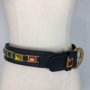 Black belt /rainbow colored stones/ gold hardware